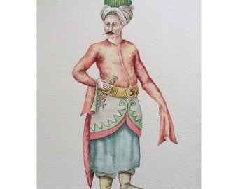 Watercolor painting of Ottoman costume,original art,historical fashion