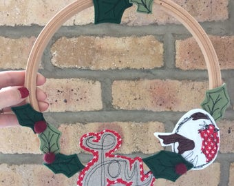 Joy freehand embroidered hoop wreath