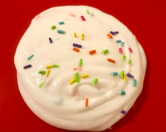 5oz. Slime.  Vanilla frosted with rainbow sprinkles