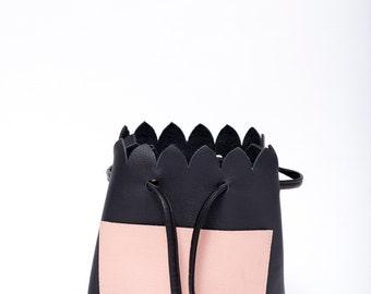 SALE. Bucket Bag. Scalloped Black Leather Bag. Black and Pink Minimalist Bucket Bag. Cross body Bag. Spring Fashion SS17