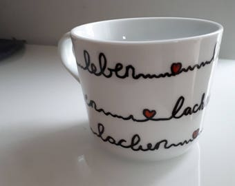 """Beautiful self-painted mug with the words """"Live, laugh, love"""