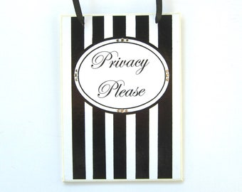 Privacy Please Sign, Black and White Wall Plaque, Decoupage Original Artwork, Swarovski Crystals, Small Gift