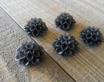 Flower Cabochons 20mm Resin Flowers Black Flower Cabochons Large Mum Cabochons Chrysanthemum Flatbacks Spring Mix Flat Back Cabochons 5pcs