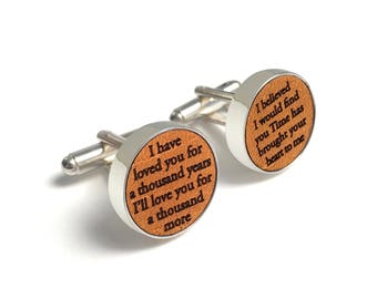Custom Wedding Song Cufflinks / 3rd Wedding Anniversary Gift / Leather Anniversary Gift for Him / Personalized with song lyrics