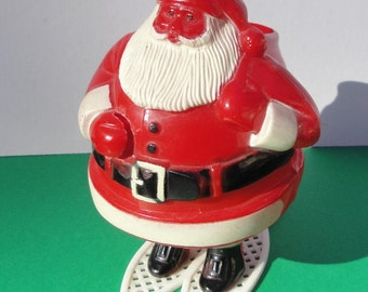 SANTA ON SNOWSHOES Candy Container, 1940's, Plastic,  Rosen Company,Vintage Christmas Decoration