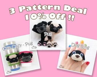 PDF Amigurumi / Crochet Pattern Special 3-Pattern Deal: Amigurumi Pug, Coffee Cup Cozy – Pug, Amigurumi Dog Ring CPD-16-3313