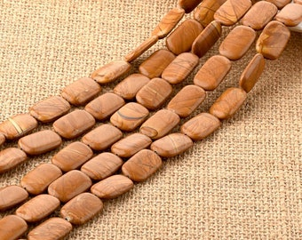 Petrified Wood Agate Gemstone Yellow Rectangle Flat Beads 13*20mm for DIY Jewelry Making