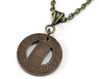 Vintage Travel Token Necklace, 1919 United Railways of St. Louis, Brass Copper Antique Token Pendant