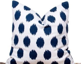 """SALE ENDS SOON Navy Polka Dot Pillows, Navy Throw Pillows, Blue Pillow Case, Cotton Pillows, Sofa Cushions, 18 x 18"""""""