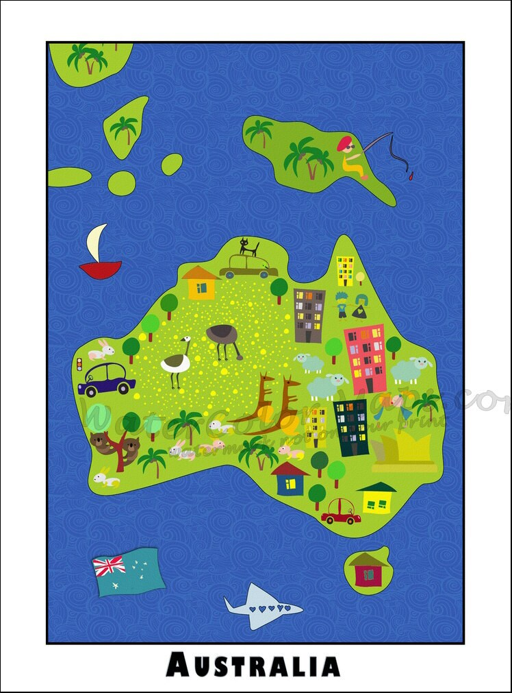 KIDS Maps AUSTRALIA Map For Kids Childrens Maps Map Of - Kids wall map