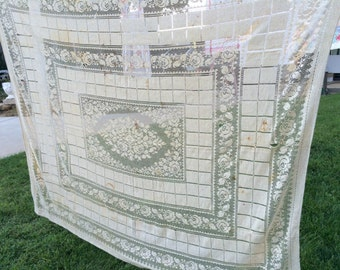 Vintage Lace Ecru Almost Taupe Floral Cutter Tablecloth