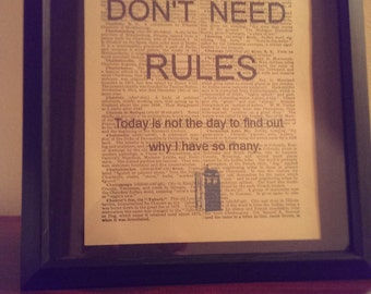 Doctor Who: Dictionary Art Print (Good Men Don't Need Rules)