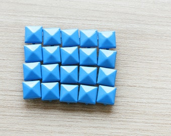 50pcs of Blue Pyramid Studs For Craft - 9 mm