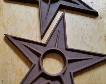 Heavy Iron Stars set of two metal industrial garden patriotic Americana architectural rustic almost a foot