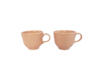 Vintage Light Pink Fiesta Ware Coffee Tea Cups Mugs Set of 2