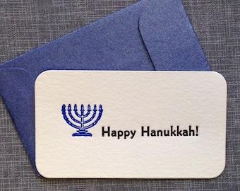 Mini Hanukkah Card and Envelope - Letterpress Hannukah Card - Enclosure Card
