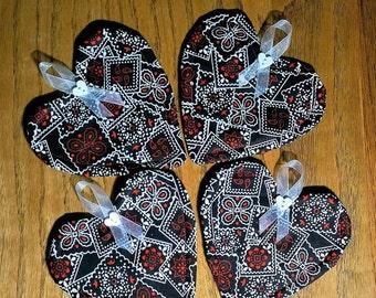 Fabric Heart Coasters - Set of 4