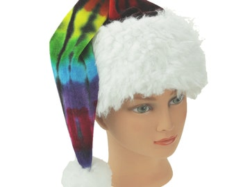 Tie Dye Santa Hat Rainbow Organic Bamboo Velour Holiday Hat