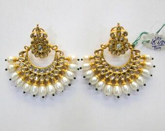 Vintage antique handmade 20K Gold jewelry diamond enamel pearl Earring india