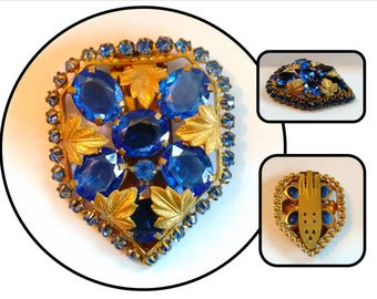 Vintage Czechoslovakian Bright Cobalt Blue Glass Stones in Gold Plated Setting, Dress Clip Pin, costume jewelry, gold leaves
