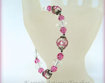 Pink Ribbon Breast Cancer Awareness Beaded Bracelet