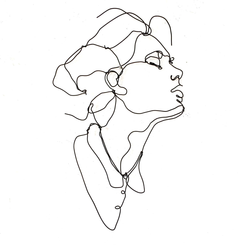 ecstasy profile wire wall art woman female portrait wall