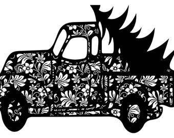 Zentangle Christmas tree truck