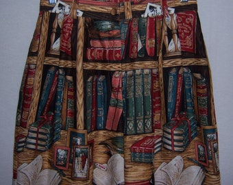 Vintage Sharon Young Library Books Print Pattern Bermuda Walking Shorts 8 Deadstock NOS NWOT Ivy League