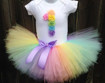 Pastel Rainbow Tutu Outfit with Matching Headband   First Birthday Rainbow Outfit    1st Birthday