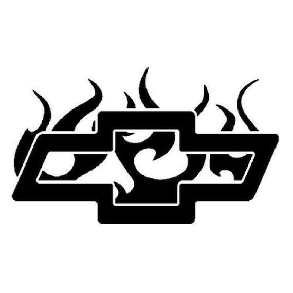 Flaming Chevy Chevrolet Vinyl Decal Window Sticker Pick Size