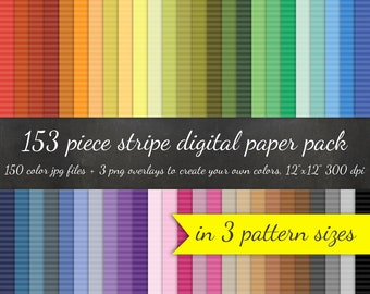 80% OFF SALE 153 Piece Horizontal Stripe Digital Paper Pack - 3 Striped Pattern Sizes 50 Colors Each + 3 Overlays - Digital Scrapbook Paper