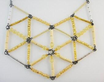 Yellow Beaded Geodesic Bib Necklace : Quamby Designs (QDWD)