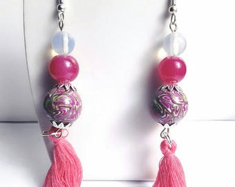 Earrings chic Fuchsia and green with pom poms