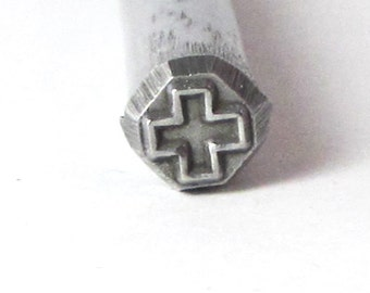 Cross southwest -  design stamp for silver charms pendants earrings 5x5mm