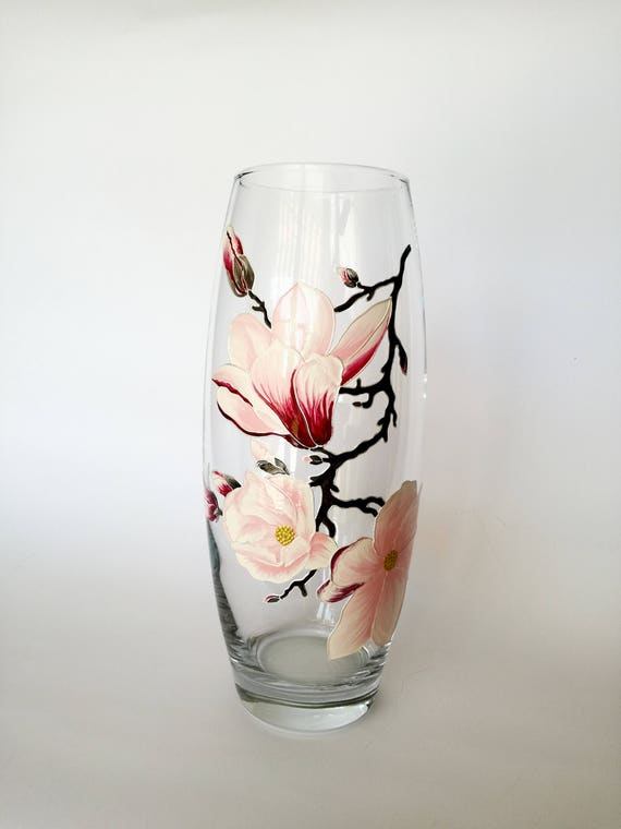 Christmas Gift For Hostess Hand Painted Glass Vase Interior