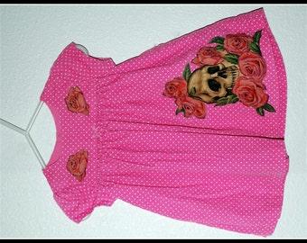 Girls Rockabilly Pink Dot Dress in Skull & Roses ........Size 9-12 months girls