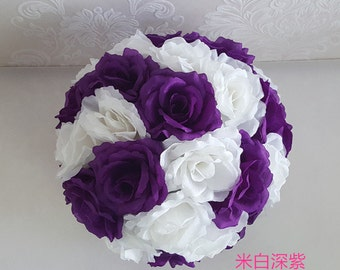 "Purple White Flower Ball Silk Kissing Balls Pomander 10"" For Wedding Flower Ball Centerpieces Bridal Shower Decoration TJ10HQ-PW"