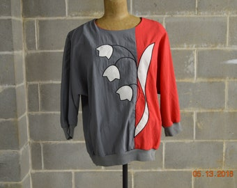 "80's Art Deco Color Block Shirt,Medium,Chest up to 48"" Waist 30"" to 34"",Dolmen,Batwing Sleeves,Tulips Grayish Dark khaki ,Red,White"
