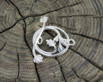 Sterling Silver Leafy Toggle Clasp