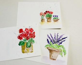 Original Watercolor Greeting Cards - Hand Painted Cards - Handmade Cards- Blank Cards - Flower Watercolor Note Cards - Set of 3