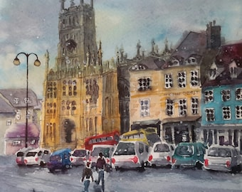 "Original watercolour cityscape  English cotswolds ""Freezing day at Cirencester"""