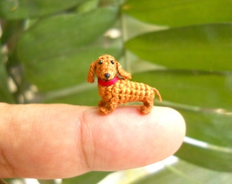 Mini Dachshund Stuff Animal - Tiny Crochet Animal Miniature Dog Amigurumi - Made To Order