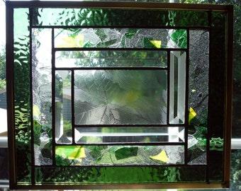 Geprägtes Blatt-Panel, Glasmalerei und schrägen, handgefertigte schöne Confetti-Glas
