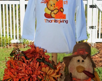 Thanksgiving, 1st Thanksgiving, first Thanksgiving, bodysuit, personalized, baby girl, baby boy, baby clothes, turkey,