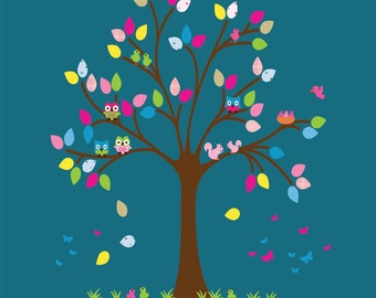Kids Tree Wall Decal, Fabric Decal T501C