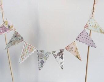 Peach, Lilac, Aqua Florals Cake Bunting Topper - Boho Tea Party - Wedding, Bridal Shower, Birthday, Baby Shower