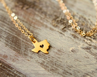 Texas Love Necklace, Texas with Heart Cut out, Available in Sterling Silver and Vermeil and Gold Filled Texan Pride State Map Shape