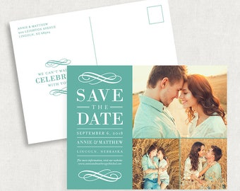 Photo Postcard Save the Dates, Blue Save the Dates, Save the Date Postcards, Photo Save the Date, Save the Date PDF, Printable Save the Date