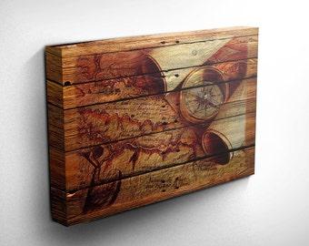 World Explorer Wood Effect Canvas Art Print, Gift Idea, Inspirational Art, Compass Canvas Gift