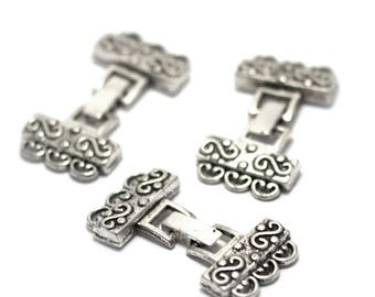 """2 """"triple strand ethnic""""45 x 23 mm, silver clip clasp"""